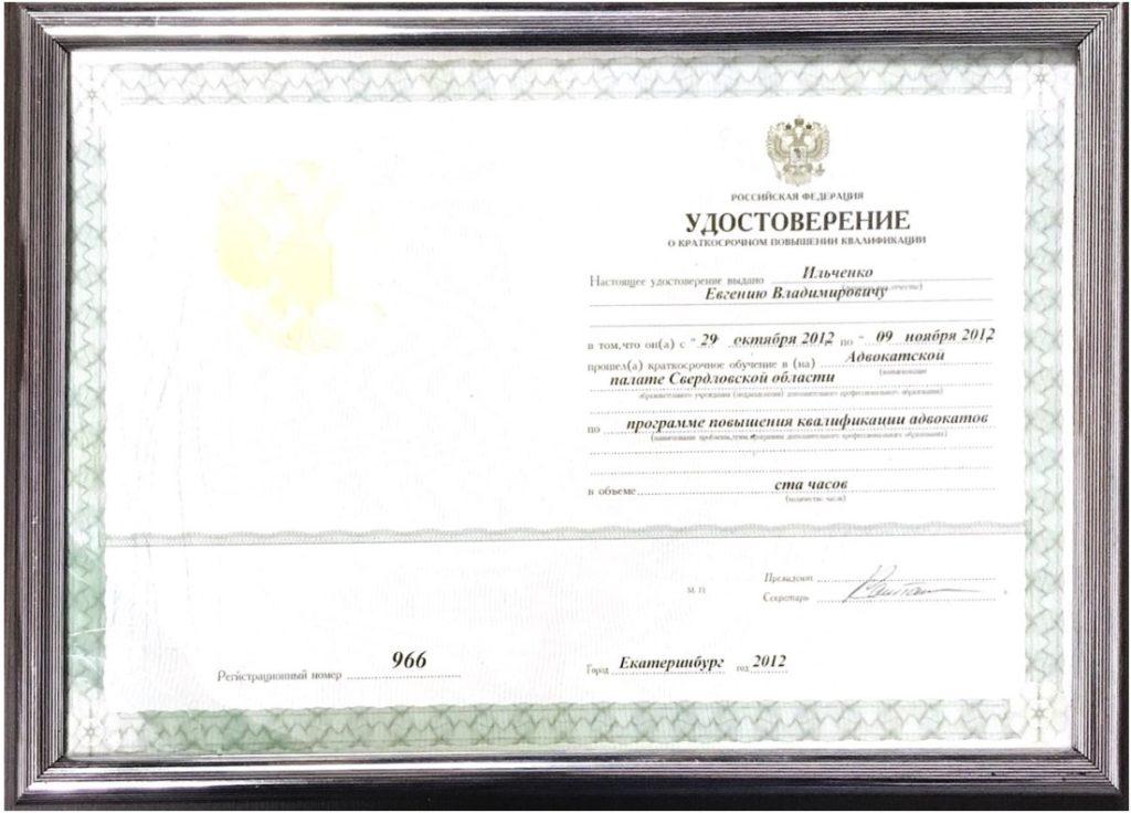 удостоверение ильиченко владимиру евгеньевичу